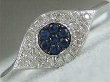 MODERN PAVE DIAMOND SAPPHIRE 14K WHITE GOLD EVIL EYE BAND COCKTAIL RING RG11223W