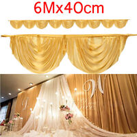 600cm Gold Wedding Backdrop Swags Decor Tage Background Table Skirts Detachable
