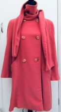 Jaeger Genuine Vintage Designer Pink New Wool Jacket Swing Coat With Scarf 12/14