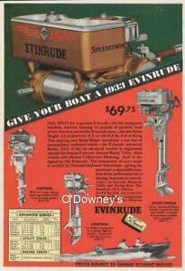 Vintage 1933 ad Evinrude Fleetwin Sport Single Outboard Motors  Cabin Art