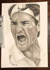 1/1 Original Roger Federer Watercolor W/ Artist Auto Signature COA
