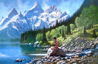 Snow mountain scenery Oil painting Giclee Art Printed on canvas L2496