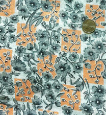 "Vintage Full Feed/Flour Sack Lovely Orange & Grey Floral  41"" x 37"""