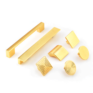 Solid Brushed Gold Brass Pull Cabinet Kitchen Drawer Cupboard Door Handle Knob