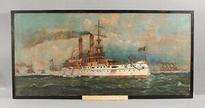 19thC Antique Span-Am War US Navy DREADNOUGHT Battleship Folk Art Oil Painting