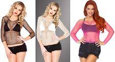 Leg Avenue Women's 1-piece Long Sleeves T-shirts One Size Neon Pink