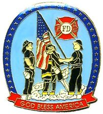 Fireman Lapel Pin Tac Lot of 3 Fire Fighter God Bless America American Flag New