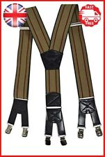 Mens XXL Extra Wide Heavy Duty X Shape Braces Suspenders with 6 Clips Design