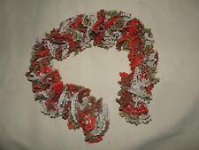 Echarpe tortillon pompons tricot ajouré vert / rouge / beige / marron 95 cm