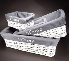 """4 en 1 Blanco """"Home"""" Shabby Chic Mimbre Ratán Cesta Cesta de almacenamiento de cocina Hogar"""