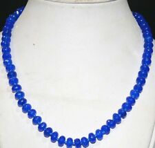 """5x8mm Faceted Blue Sapphire Abacus Gemstone Necklace 18"""" PN521"""