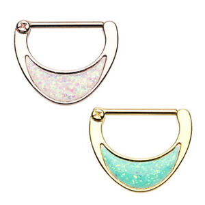 Gold & Rose Gold Opal Sparkle Inlay Nipple Clicker