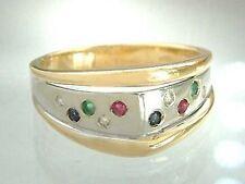 Brillantring mit Edelsteinen - Gold 585 Goldring bicolor Ring Edelsteinring 14kt
