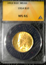 1914 $10 Indian Head Gold Coin MS-61 Slabbed ANACS