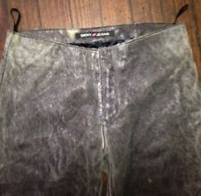 DKNY  Skinny Distressed Leather Pants  Size 3  FLARED LEG  90'S FASHION Gray