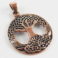 Bronze Tree Of Life Celtic Knotwork Circular Wiccan Pendant Charm 2.5cm