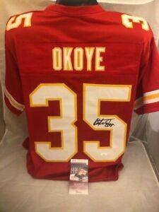 Christian Okoye Signed / Autographed Authentic Style Chiefs Jersey JSA COA