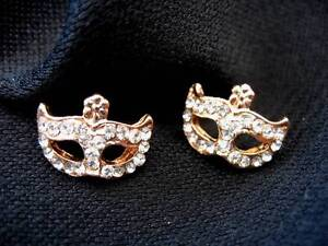 Mask Masquerade Crystal Stud Earrings Bohemian Gold Fantasy Fae Steampunk Boho