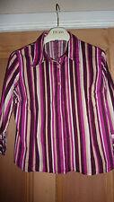 H&M Ladies MEDIUM M UK 10 Shirt PURPLE BERRY PINK WHITE Tailored Chic FAB RARE!!