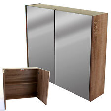 BATHROOM WALL CABINET DOUBLE MIRROR DOOR WOODEN CUPBOARD SHELF