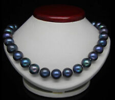 HOT SALE NATURAL 18''9-10 MM TAHITIAN BLACK BLUE  PEARL NECKLACE 14K