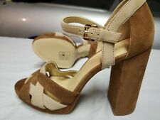NWOT Michael Kors Women's Suede Strapped Beige Brown High Heels Shoes Size 7M