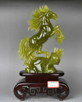 "17 ""Chinois Naturel 100% Xiu Jade Jadeite Animal Cheval Chevaux Sculpture"