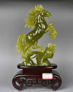 "17 ""Chinois Naturel 100% Xiu Jade Jadeite Animal Cheval Chevaux Sculpture"
