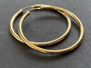 """14K Yellow Gold JCM Large 2"""" Hoop Earrings 3g"""