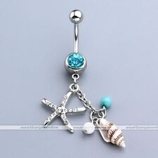 1pc 14G Crystal Steel Star Fish Dangle Conch Belly Navel Rings Piercing Jewelry