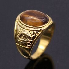 Tigers Eye Stone Large Ring For Women/Men 24K Gold Plated Fashion Ring Size 9