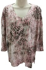 Chico's Women's 3/4 Sleeve V-Neck Casual Multicolor Tee Shirt Size 2 (Large)