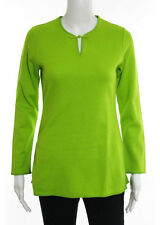 Shanghai Tang Green Cotton Long Sleeve Knit Top Size Small New With Tags