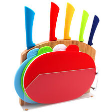 Messer Set Anti Haft 5x Messer, 4x Schneidebrett Bambus Halter Messerblock Holz