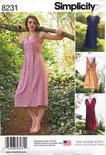 SIMPLICITY SEWING PATTERN 8231 MISSES SZ 14-22 V-NECK ELASTIC WAIST DRESSES