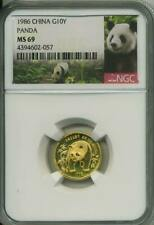 1986 1/10 oz Gold China Panda NGC MS 69  10 Yuan