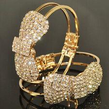 BU_ Quite Women Bracelet Gold Plated Chain Crystal Bowknot Cuff Open Bangle Jewe