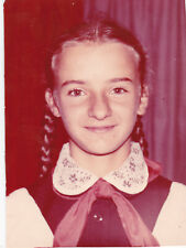 1980 Pretty young teen school girl uniform braids long hair old Russian photo