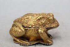 "4"" Chinese Bronze 24K Gold Frog Louts Statue Incense Burner Censer"