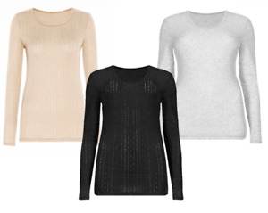 Brand New Ex Marks & Spencer Womens Long Sleeve Thermal Top Warm Scoop Neck