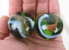 2 BOULDERS 35mm JUNGLE Marbles glass ball Clear Green Brown LARGE HUGE Swirl