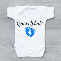 Guess What Pregnancy Reveal New Arrival Announcement Boys Baby Grow Bodysuit