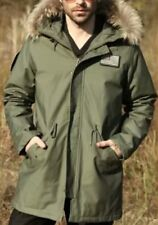 Seibertron Raccoon Fur Hooded M-65 Military Field Jacket Coat Slim Fit XS
