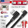 3M 2M 1M Elbow USB Lightning Charging Charger Cable For Apple iPhone 6 7 8 11 X