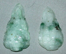 Antique Genuine Traditional Pair Jade Carved Chinese Netsuke Pendants