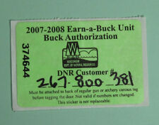 2007 Wisconsin Resident Deer Hunter Stamp License Permit.Free Shipping!