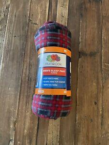 Men's Fruit Of The Loom Fleece Sleep Pajama Lounge Pants Red/Black Plaid M NEW