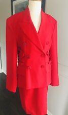 Lolita Lempicka Paris  Woman's Suit 2 PC Skirt Jacket Red Wool ~ Sz 4 ~ STYLISH~