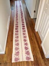 "Vintage Antique Brocade Fabric Table Runner Scarf Leaf Ivory Burgundy 16 ft x20"""