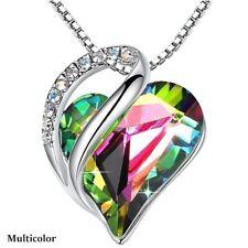 Fashion Silver Love Heart Rainbow Zircon Pendant Necklace Valentine'S Day Gifts